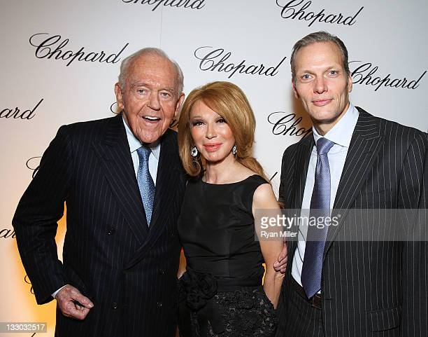 Henry Segerstrom Elizabeth Segerstrom and Marc Hruschka President and CEO of Chopard pose during the Chopard reopening celebration of their South...
