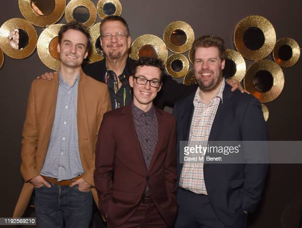 Henry Shields Penn Jillette Jonathan Sayer and Henry Lewis attend the press night after party for Magic Goes Wrong at Proud Embankment on January 8...