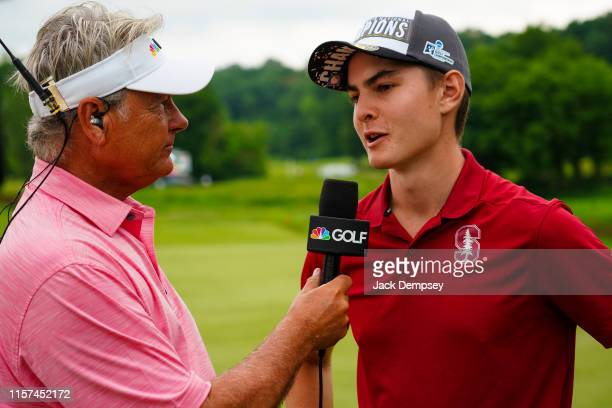 Henry Shimp of Stanford is interviewed following the Division I Men's Golf Match Play Championship held at the Blessings Golf Club on May 29 2019 in...