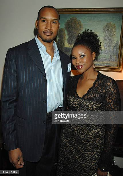 Henry Simmons and Benu Mabhena during HBO 2007 PreGolden Globes Party at Chateau Marmont in Los Angeles California United States