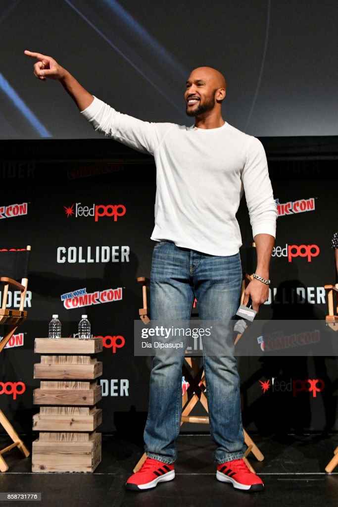 Henry Simmons, and Natalia Cordova-Buckley speak at the Marvel's Agents of S.H.I.E.L.D. panel during 2017 New York Comic Con - Day 3 on October 7, 2017 in New York City.