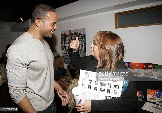 Henry Simmons and Penny Marshall during GBK Productions 2007 Oscar Gift Suite Day 2 at Hollywood Roosevelt Hotel in Hollywood California