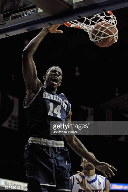 Henry Sims of the Georgetown Hoyas dunks the ball against the DePaul Blue Demons at Allstate Arena on January 17 2012 in Rosemont Illinois