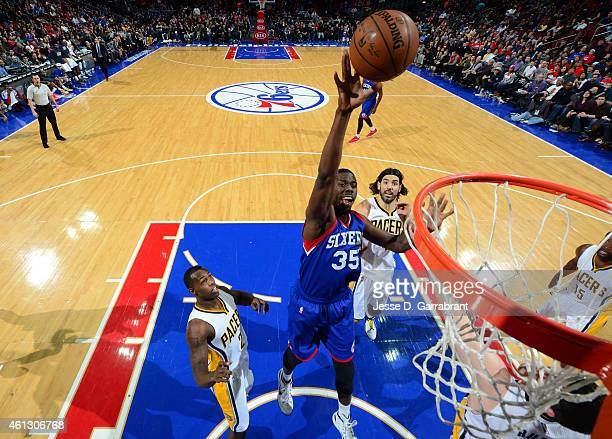 Henry Sims of the Philadelphia 76ers goes up for the layup against the Indiana Pacers at Wells Fargo Center on January 10 2015 in Philadelphia...