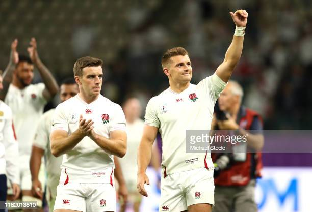 Henry Slade and George Ford of England acknowledge the crowd after the Rugby World Cup 2019 Quarter Final match between England and Australia at Oita...