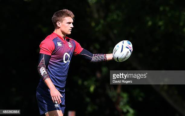 Henry Slade catches the ball during the England training session held at Pennyhill Park on August 26 2015 in Bagshot England