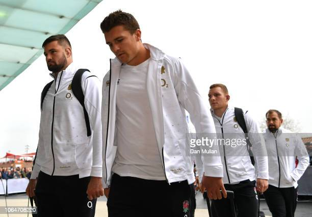 Henry Slade of England and team mates arrive prior to the Quilter International match between England and Australia on November 24 2018 in London...