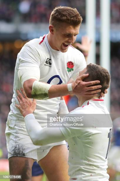 Henry Slade of England celebrates with Jonny May who just scored their 2nd try during the Guinness Six Nations match between England and France at...
