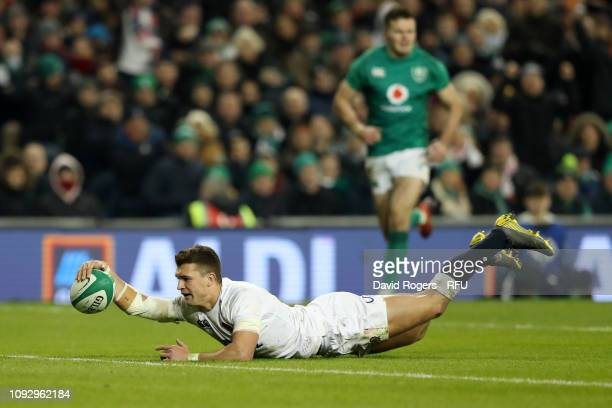 Henry Slade of England crosses for the fourth try during the Guinness Six Nations between Ireland and England at Aviva Stadium on February 2 2019 in...