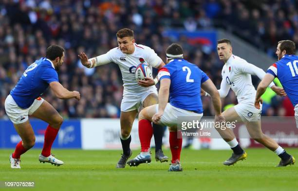 Henry Slade of England is faced by Guilhem Guirado and Geoffrey Doumayrou of France during the Guinness Six Nations match between England and France...