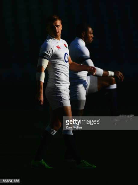 Henry Slade of England looks on during the England Captain's Run at Twickenham Stadium on November 17 2017 in London England England are due to face...