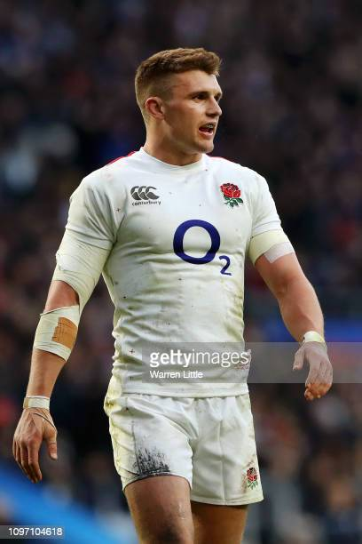 Henry Slade of England looks on during the Guinness Six Nations match between England and France at Twickenham Stadium on February 10 2019 in London...