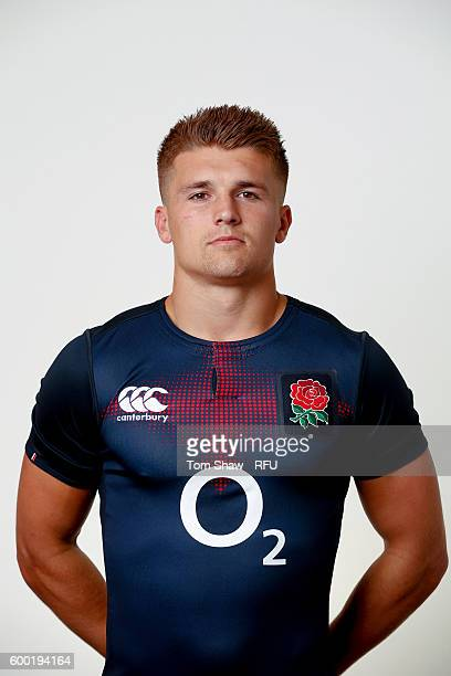 Henry Slade of England poses for a portrait during the England Elite Player Squad photo call at The Lensbury on August 7 2016 in Teddington England