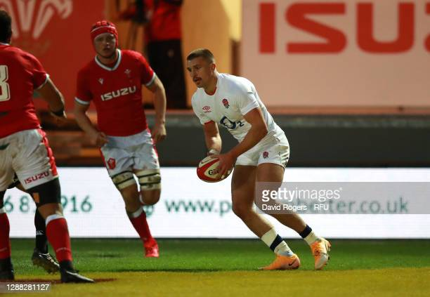 Henry Slade of England scores their first try during the Autumn Nations Cup match between Wales and England at Parc y Scarlets on November 28, 2020...