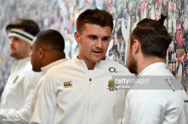 Henry Slade of England speaks to Jack Nowell of England in the tunnel prior to the RBS Six Nations match between England and Italy at Twickenham...
