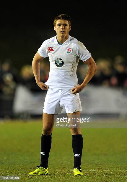 Henry Slade of England U20 looks on during the match between Wales U20 and England U20 at Eirias Park on March 15 2013 in Colwyn Bay Wales