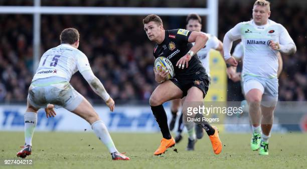 Henry Slade of Exeter charges upfield during the Aviva Premiership match between Exeter Chiefs and Saracens at Sandy Park on March 4 2018 in Exeter...