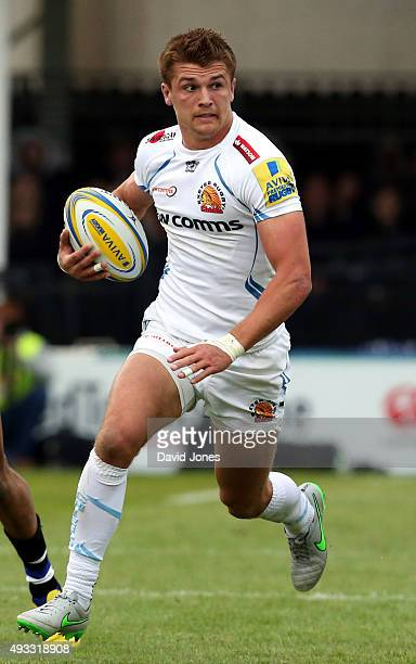 Henry Slade of Exeter Chiefs during the Aviva Premiership match between Bath Rugby and Exeter Chiefs at the Recreation Ground on October 17 2015 in...