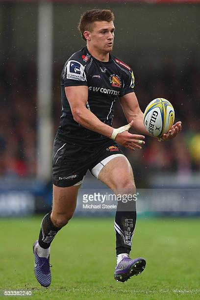 Henry Slade of Exeter Chiefs during the Aviva Premiership semi final match between Exeter Chiefs and Wasps at Sandy Park on May 21 2016 in Exeter...