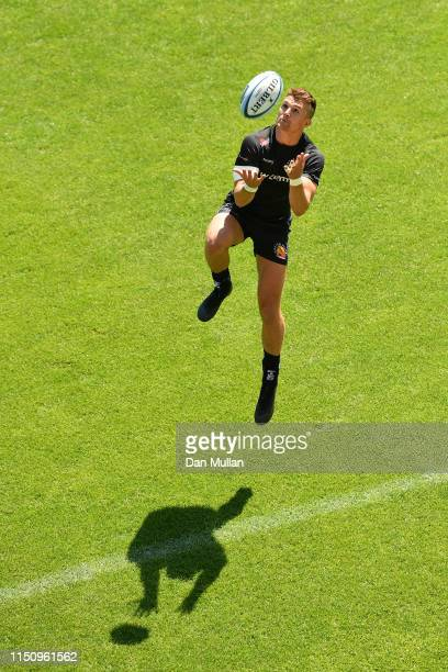 Henry Slade of Exeter Chiefs gathers a high ball during a training session at Sandy Park on May 22 2019 in Exeter England