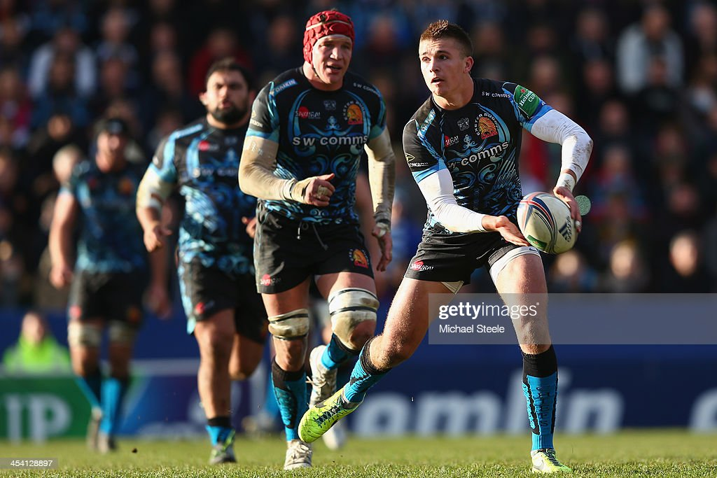 Henry Slade of Exeter Chiefs in action during the Heineken Cup Pool Two match between Exeter Chiefs and Toulon at Sandy Park on December 7, 2013 in Exeter, England.