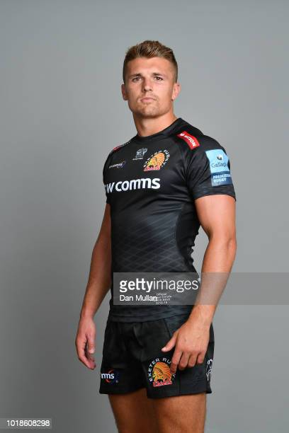 Henry Slade of Exeter Chiefs poses for a portrait during the Exeter Chiefs squad photo call for the 201819 Gallagher Premiership Rugby season at...