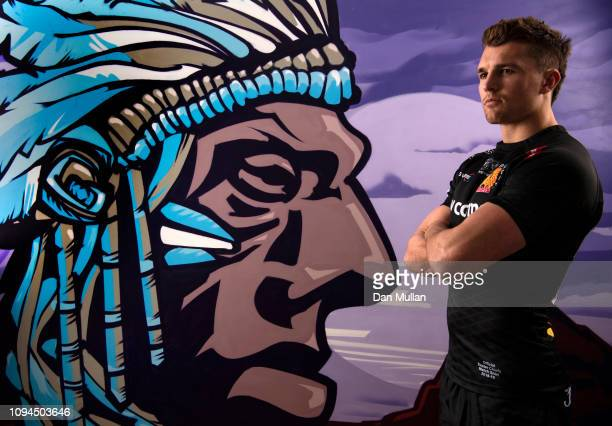 Henry Slade of Exeter Chiefs poses for a portrait in front of a mural painted in his home on January 14 2019 in Exeter England