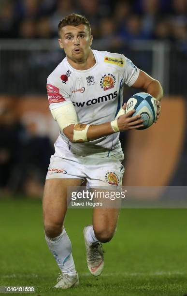 Henry Slade of Exeter Chiefs runs with the ball during the Gallagher Premiership Rugby match between Bath Rugby and Exeter Chiefs at the Recreation...