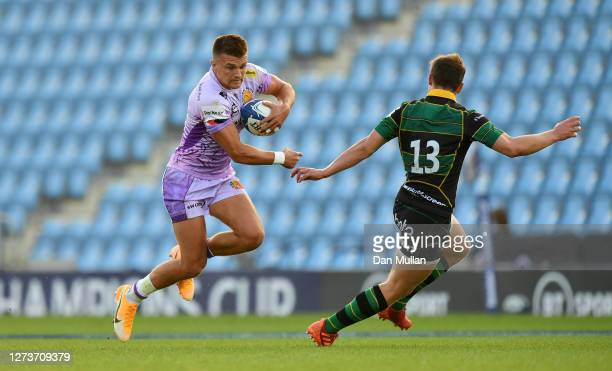 Henry Slade of Exeter Chiefs takes on Fraser Dingwall of Northampton Saints during the Heineken Champions Cup Quarter Final match between Exeter...