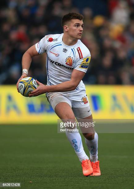 Henry Slade of Exeter in action during the Aviva Premiership match between Worcester Warriors and Exeter Chiefs at Sixways Stadium on February 18...