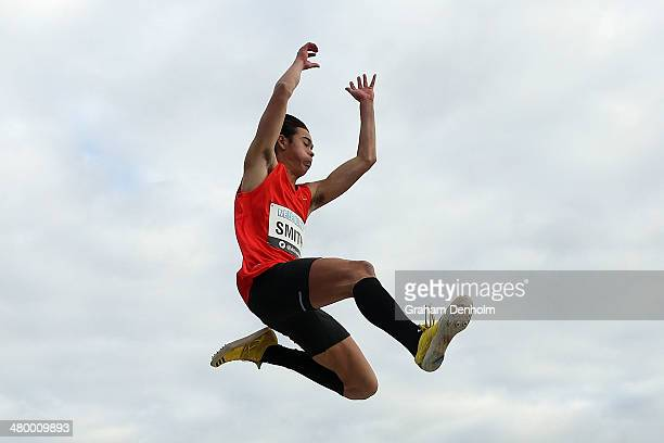 Henry Smith of Australia competes in the Men's long jump open during the IAAF Melbourne World Challenge at Olympic Park on March 22 2014 in Melbourne...