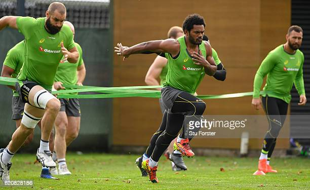 Henry Speight in action during Qantas Australia Wallabies training ahead of their International against Wales at Sophia Gardens on November 3, 2016...
