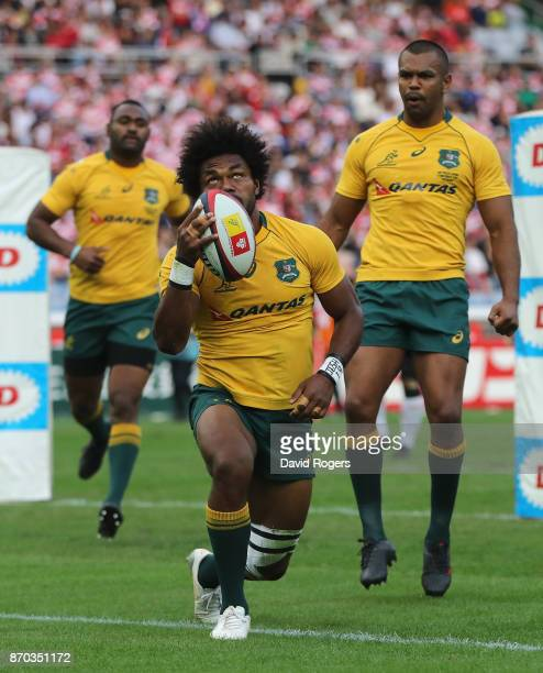 Henry Speight of Australia celebrates after scoring their second try during the rugby union international match between Japan and Australia Wallabies...