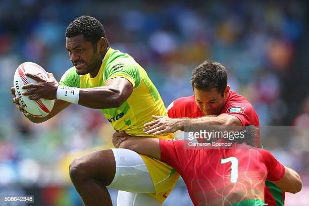 Henry Speight of Australia is tackled during the 2016 Sydney Sevens match between Australia and Portugal at Allianz Stadium on February 6 2016 in...