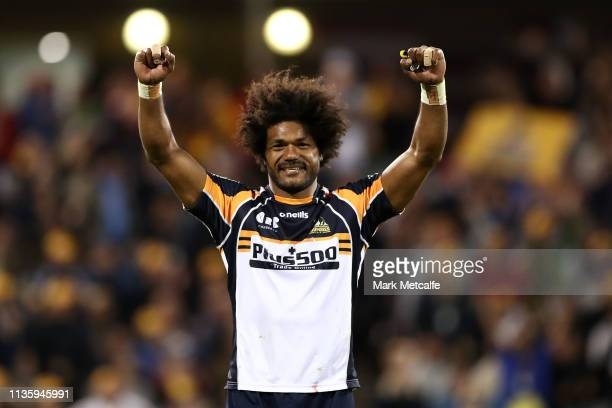 Henry Speight of the Brumbies celebrates victory in the round five Super Rugby match between the Brumbies and the Waratahs at GIO Stadium on March 15...