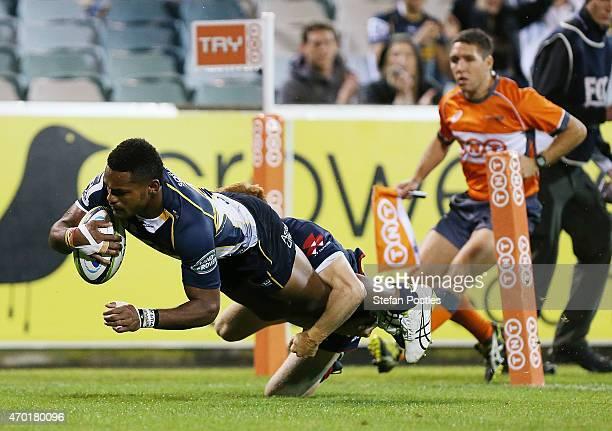 Henry Speight of the Brumbies scores a try during the round 10 Super Rugby match between the Brumbies and the Rebels at GIO Stadium on April 18 2015...