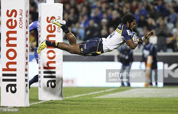 Henry Speight of the Brumbies scores a try during the round 11 Super Rugby match between the Brumbies and the Force at Canberra Stadium on April 27,...