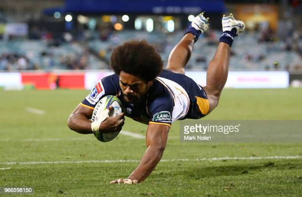Henry Speight of the Brumbies scores a try during the round 16 Super Rugby match between the Brumbies and the Sunwolves at GIO Stadium Stadium on...