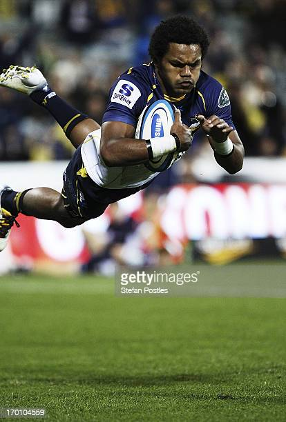 Henry Speight of the Brumbies scores a try during the round 17 Super Rugby match between the Brumbies and the Rebels at Canberra Stadium on June 7,...