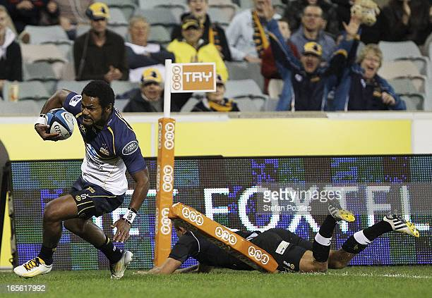 Henry Speight of the Brumbies scores a try during the round eight Super Rugby match between the Brumbies and the Kings at Canberra Stadium on April 5...