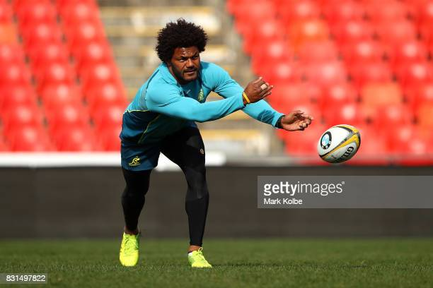 Henry Speight passes during an Australian Wallabies training session at Pepper Stadium on August 15 2017 in Sydney Australia