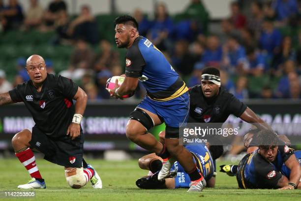 Henry Stowers of the Force runs the ball during the Rapid Rugby match between the Western Force and the Asia Pacific Dragons at HBF Stadium on April...