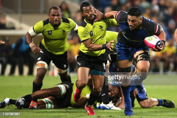 Henry Stowers of the Force runs the ball during the Rapid Rugby match between the Western Force and Fijian Latui at HBF Park on June 21, 2019 in...