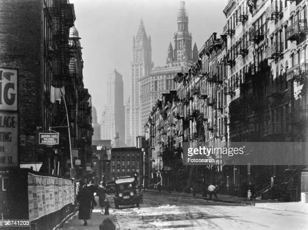 Henry Street, from Market, looking west, lower east side, Manhattan, New York City, New York, USA, 29 November 1935. .