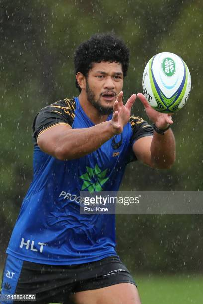 Henry Taefu in action during a Western Force media opportunity at the UWA Sports Park on June 11, 2020 in Perth, Australia.
