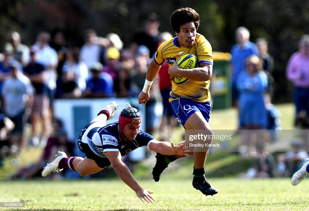 Henry Taefu of Brisbane City breaks away from the defence during the round two NRC match between Queensland Country and Brisbane on September 9, 2017 in Noosa, Australia.