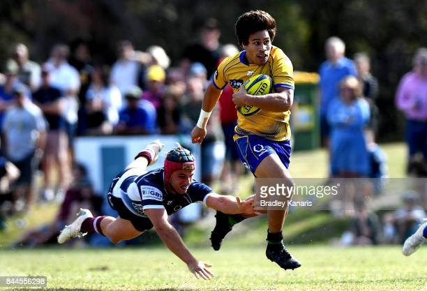 Henry Taefu of Brisbane City breaks away from the defence during the round two NRC match between Queensland Country and Brisbane on September 9 2017...