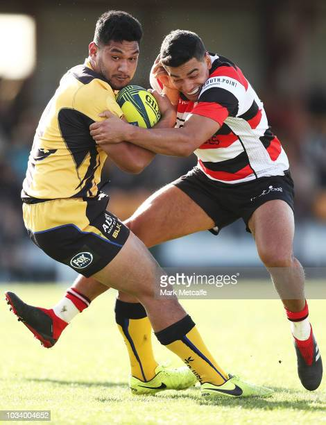 Henry Taefu of the Force is tackled by Wharenui Hawera of the Vikings during the round three NRC match between Canberra Vikings and Western Force at...