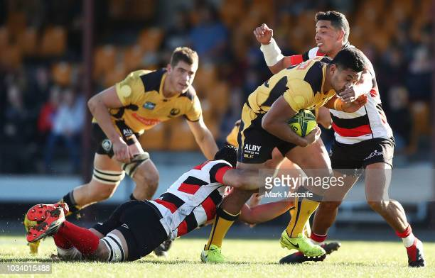 Henry Taefu of the Force is tackled during the round three NRC match between Canberra Vikings and Western Force at Viking Park on September 16 2018...