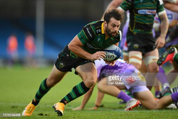 Henry Taylor of Northampton Saints makes a break during the Heineken Champions Cup Quarter Final match between Exeter Chiefs and Northampton Saints...